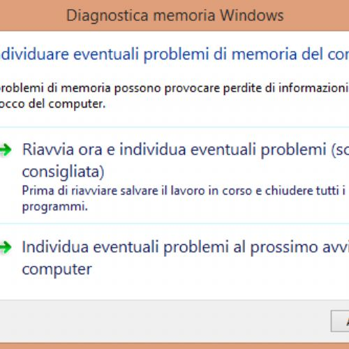 Testare la memoria RAM del PC da Windows