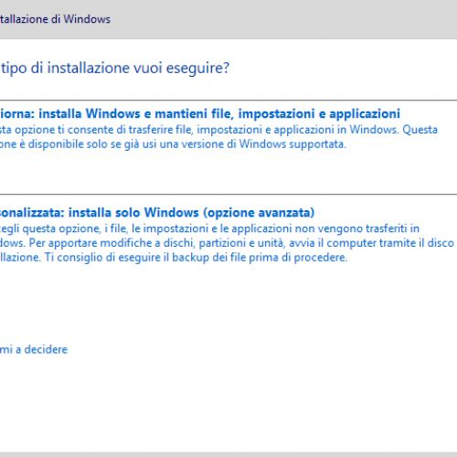 Installare Windows 10 da zero, anche con Product Key