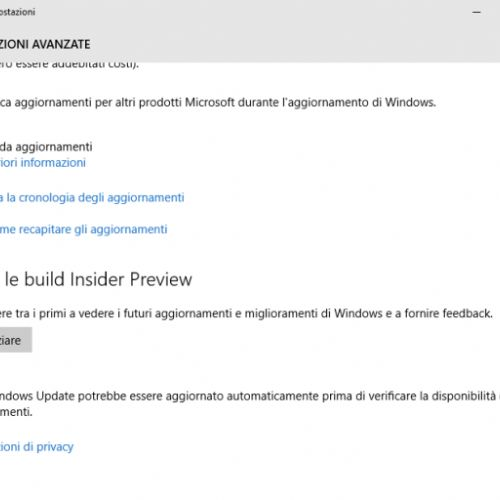 Provare Windows 10 partecipando al programma Windows Insider
