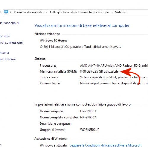 Memoria installata e memoria utilizzabile in Windows