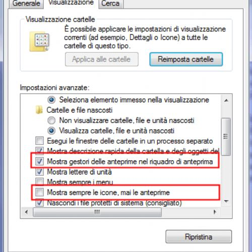 Windows 7: come ripristinare l'anteprima per i file video
